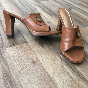 Franco Sarto Brown Mules/Slides Open-toed heels
